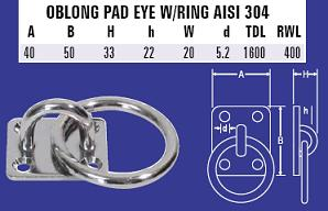 8mm Oblong Pad Eye With Ring