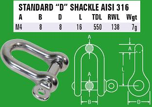 M4 D-Shackle - 316 Stainless Steel