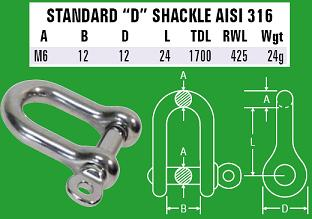 M6 D-Shackle - 316 Stainless Steel