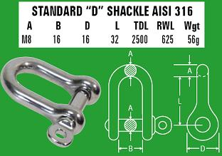 M8 D-Shackle - 316 Stainless Steel
