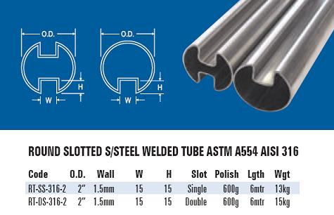 Stainless Steel Slotted Tube for Glass Balustrading