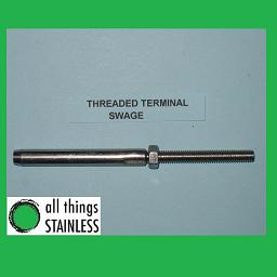 3.2mm M6 Threaded Terminal Swage - 316 Stainless Steel