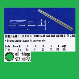 4mm M6 Internal Threaded Terminal Swage - 316 Stainless Steel