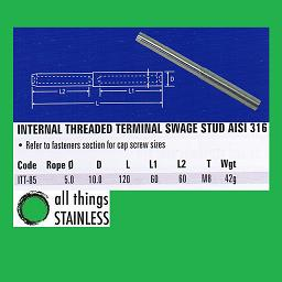 5mm M8 Internal Threaded Terminal Swage - 316 Stainless Steel
